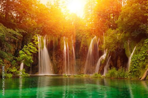 Poster Watervallen Waterfalls in national park. Plitvice, Croatia