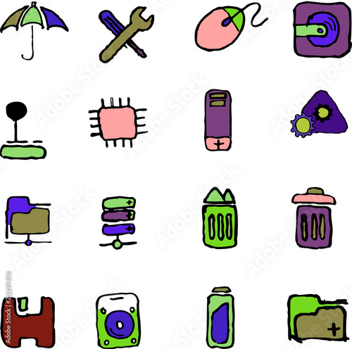 Fototapety, obrazy: Computer and Data icons isolated on white