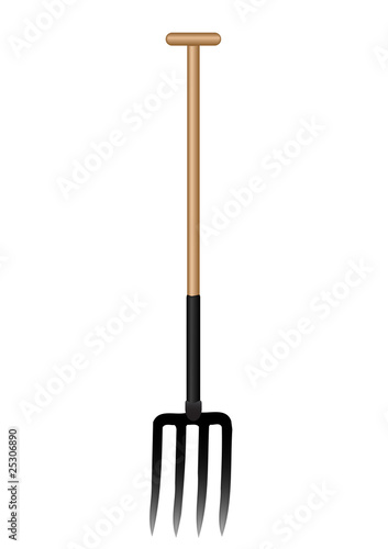 Fotografía Vector illustration a pitchfork with the wooden handle