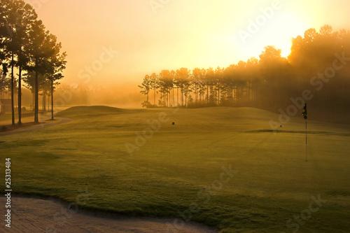 Deurstickers Golf golf course at dawn