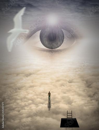 Fototapety, obrazy: Man climbs to heavens