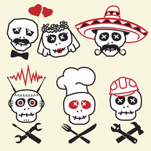 Funny Skulls, Smiles, Various Characters