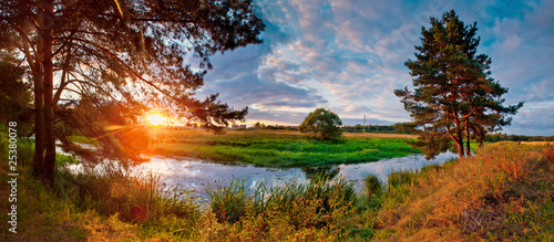 Summer panorama with river and pine-tree on sunset