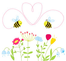 Bees In Love Over The Flowers