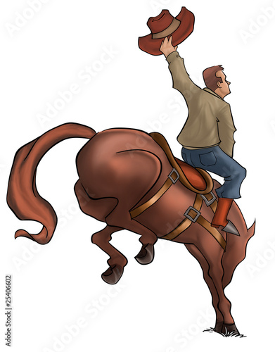 Aluminium Prints Wild West Bucking Rodeo Horse