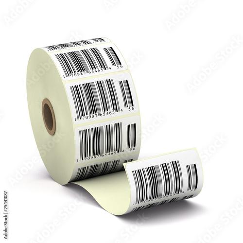 Fotografía  étiquettes codebarre, code barres sur un rouleau - soldes