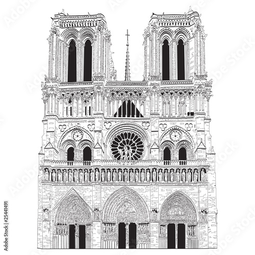 Vector image of Notre Dame de Paris Fototapeta