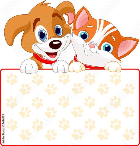 Printed kitchen splashbacks Fairytale World Cat and dog sign