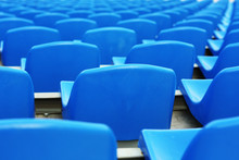 Empty Blue Plastic Stadium Seats