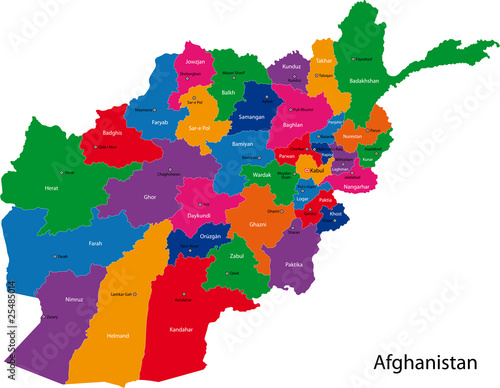 Fotografie, Obraz Map of the Islamic Republic of Afghanistan with the provinces