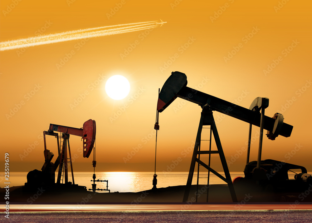 Fototapety, obrazy: Working oil pumps