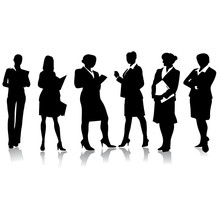 Young Business Woman Silhouettes.Vector