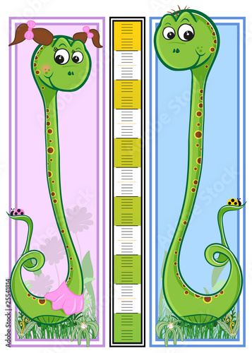 Canvas Prints Height scale Snake children height meter - every object grouped for easy use