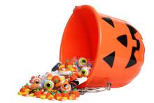 Child Halloween Pumpkin Bucket Spilling Candy