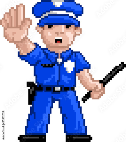 Photo sur Aluminium Pixel PixelArt: Police Officer
