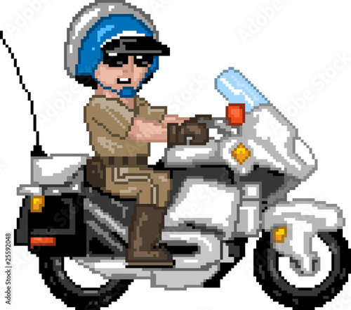 Spoed Foto op Canvas Pixel PixelArt: Police Officer n Motocycle