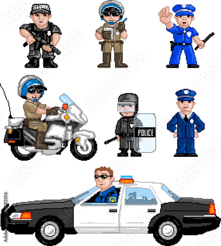 Photo sur Toile Pixel PixelArt: Police Set
