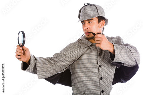 sherlock holmes with magnifying glass Canvas Print