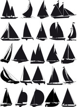 Sailboat Vector Silhouettes