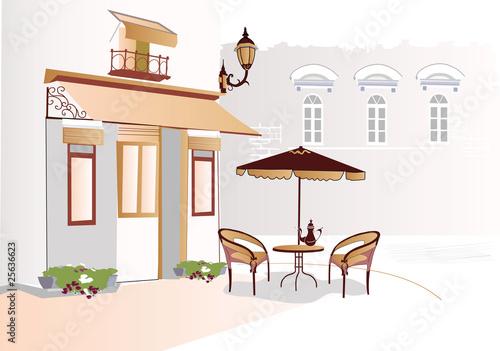 Photo sur Toile Drawn Street cafe Street cafe