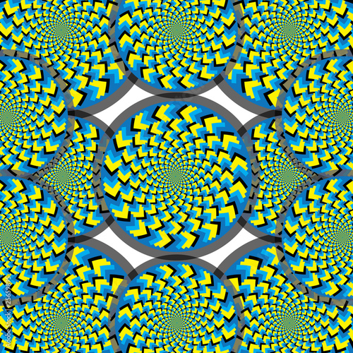 Poster Psychedelique Spiral Spin Wheels (motion illusion)