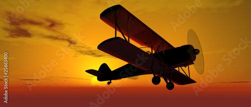 Tablou Canvas Doppeldecker bei Sonnenaufgang