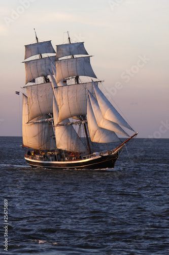In de dag Schip Brigg Morgenster vor Cuxhaven