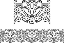 Vector Of Victorian Style Repeating Border Outline With Flowers