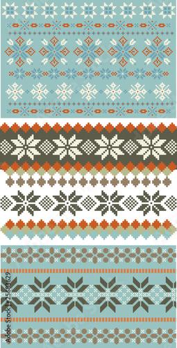 3 snowflake knitting, patterns Wallpaper Mural