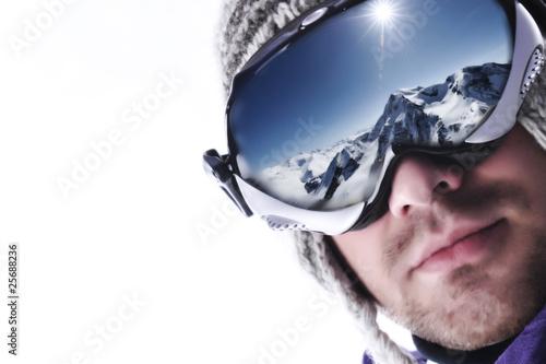 In de dag Wintersporten regard vers la montagne