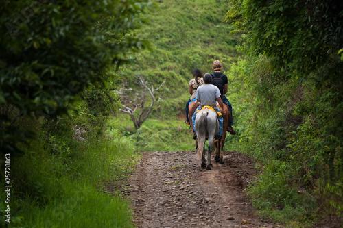Tourists on horseback in Costa Rica Wallpaper Mural