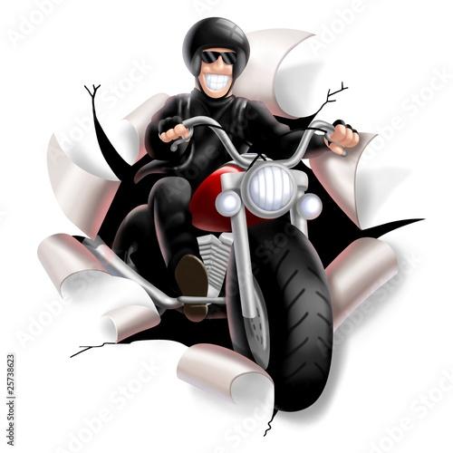 Poster Motocyclette biker strap