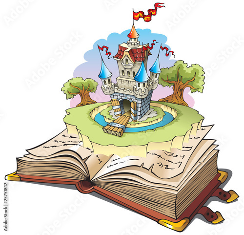 Poster Kasteel Magic world of tales, cartoon vector illustration