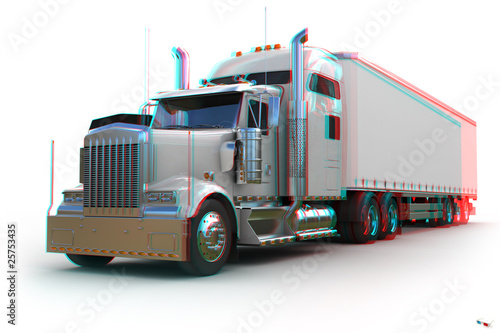 US Truck - 3d anaglyph stereo Wallpaper Mural