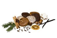 Lebkuchen, Gingerbread, Weihnachten, Weißer Hintergrund