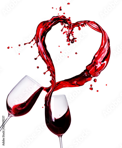 Papiers peints Vin Two Glasses of Red Wine Abstract Heart Splash