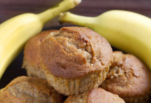 Banana Muffins On A Black Plate