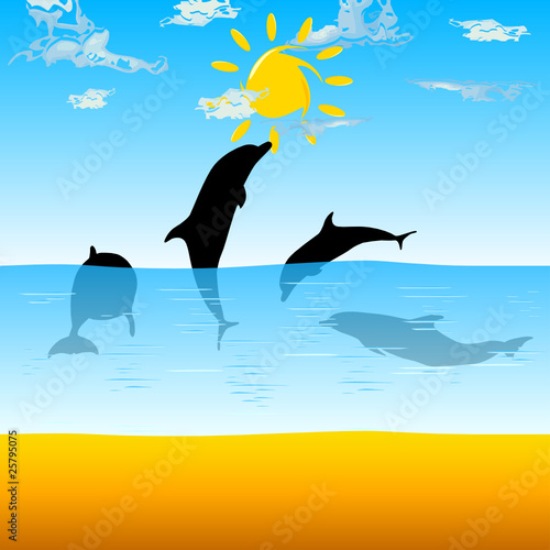 Staande foto Dolfijnen dolphins playing in the sea vector illustration