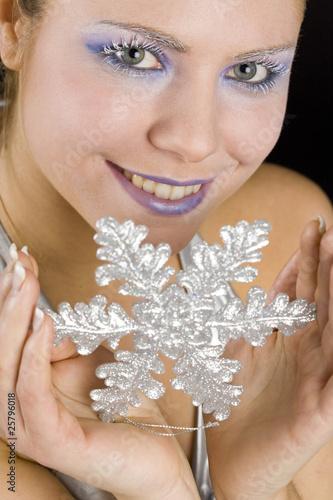 Fotografie, Obraz  portrait of woman with snowflake