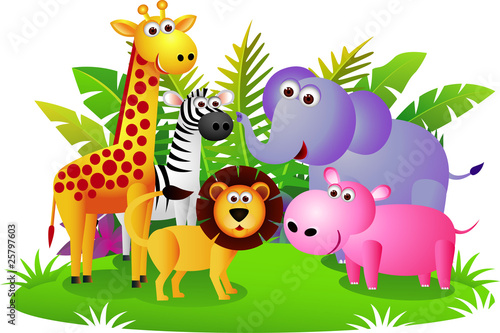 Door stickers Forest animals Cute animal Africa
