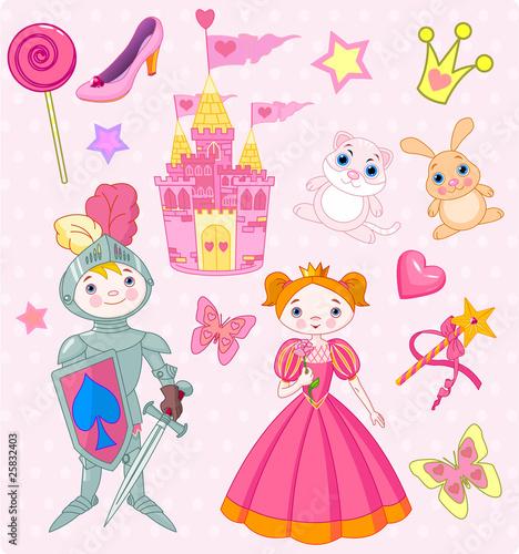 Poster Castle Fairy Tale Vector Elements