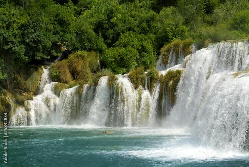 Foto-Schiebegardine Komplettsystem - waterfall and  forest