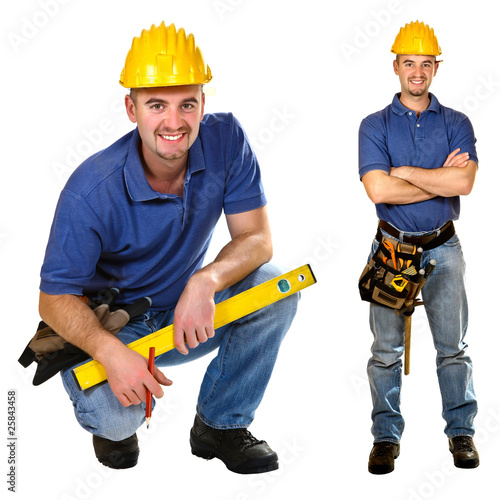 Young friendly manual worker isolated on white.