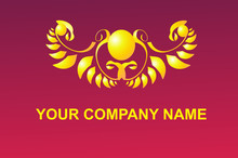 Fantastic Fiery Logo With Eagles On A Ruby Background
