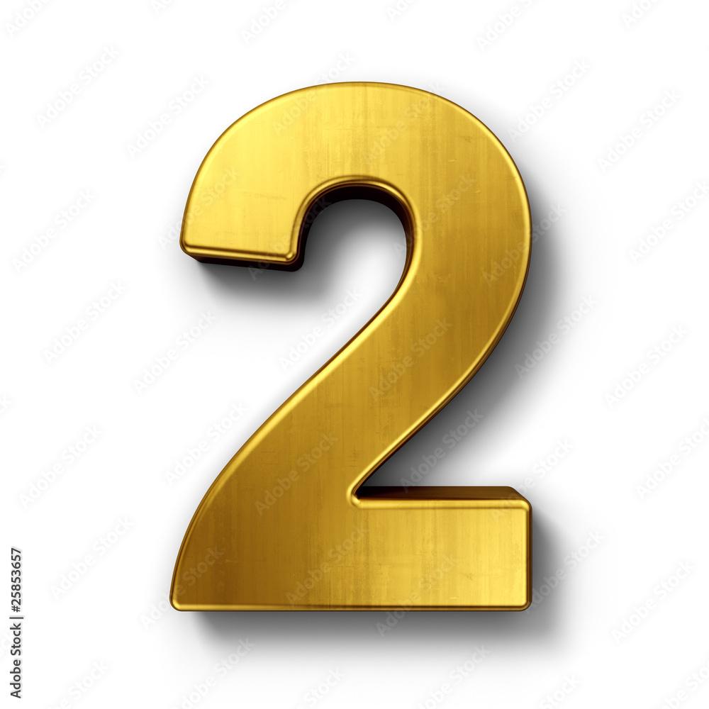 Fototapeta The number 2 in gold