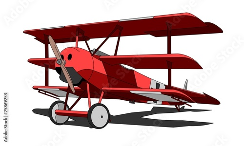 Fokker Dr.I triplane (aka Dr.1 Dreidecker) in Red Baron colors Canvas Print