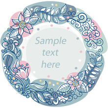 Colorful Floral Frame With Spa...