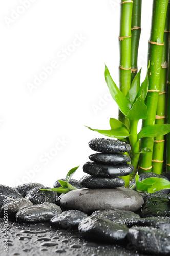 czarne-kamienie-skropione-woda-i-zielone-pedy-bambusa
