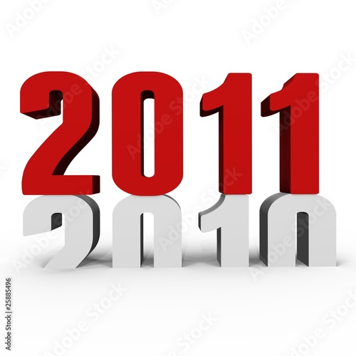 Poster  New Year 2011 pushing 2010 down - a 3d image