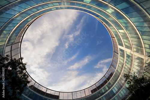Stampa su Tela Abstract Modern Round Building Architecture